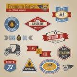 Gasoline labels. Vintage retro gasoline signs and labels collection vector illustration