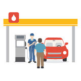 Gasoline man filling up fuel into the car. Vector illustration of gasoline man filling up fuel into the car Royalty Free Stock Photo