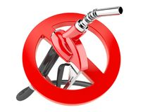 Gasoline nozzle with forbidden sign. Isolated on white background Royalty Free Stock Image