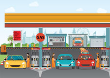 Gasoline and oil station or gas filling station. Gasoline and oil station or gas filling station, Energy conceptual  Vector flat illustration Stock Photo
