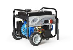Gasoline powered, ten horsepower, emergency electric generator isolated Stock Photos
