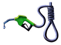 Gasoline price. Gasoline pump nozzle. Tube forming an hanging knot. Original hand painted illustration Royalty Free Stock Image