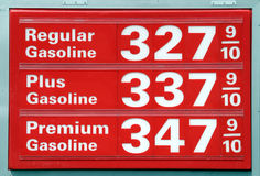 Gasoline prices. In California, sign red background white letters Stock Image