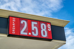 Gasoline pricing sign Royalty Free Stock Photos