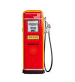 Gasoline pump. Red vintage gasoline pump over white background Stock Photos