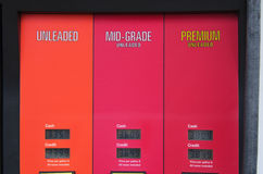 Gasoline pump closeup with prices showing Royalty Free Stock Photo