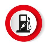 Gasoline pump nozzle sign.Gas station icon. Flat design style. Vector Stock Images