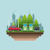 Gasoline pump panel solar turbine wind alternative energy city background Stock Photography