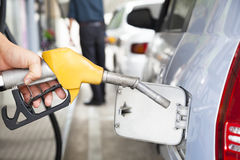 Gasoline pump refilling car. Gasoline pump refilling automobile fuel Royalty Free Stock Photography