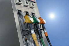 Gasoline pumps. Multi colors modern gasoline pumps stock images