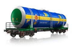 Gasoline railroad tank car. Isolated on white reflective background Royalty Free Stock Photo
