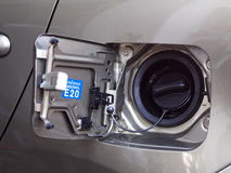 Gasoline refill duct of new contemporary eco car Royalty Free Stock Photo