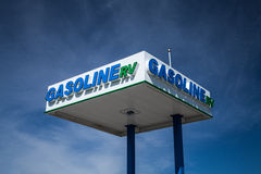 Gasoline RV Signage at Gas Station Royalty Free Stock Photography