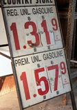 Gasoline Sign. Standing Gasoline Station sign showing the price of gas Royalty Free Stock Photography