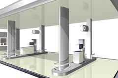 Gasoline station, 3D. Close-up image of a petrol station on a white background Stock Images