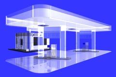 Gasoline station, 3D. Illustration on blue Stock Photography