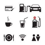 Gasoline station icons set. Gasoline station: service, maintenance black on a white background Stock Images