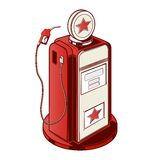 Gasoline station pump isolated on a white background. Color line art. Retro design. Stock Photography