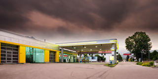 Gasoline station station with mystic sky Stock Images