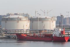 Gasoline storage tanks in the seaport. Stock Photos