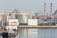 Gasoline storage tanks in the seaport. Royalty Free Stock Image