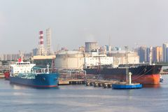 Gasoline storage tanks in the seaport Stock Photos