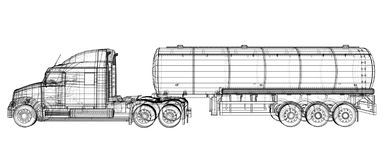Gasoline tanker, Oil trailer, truck on highway. Automotive fuel tankers shipping fuel. Tracing illustration of 3d. EPS. 10 vector format isolated on white stock illustration