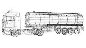 Gasoline tanker, Oil trailer, truck on highway. Automotive fuel tankers shipping fuel. Tracing illustration of 3d. EPS. 10 vector format isolated on white vector illustration