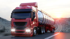 Gasoline tanker, Oil trailer, truck on highway. Very fast driving. 3d rendering. Gasoline tanker, Oil trailer, truck on highway. Very fast driving. 3d rendering royalty free illustration