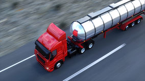 Gasoline tanker, Oil trailer, truck on highway. Very fast driving. 3d rendering. Stock Photo