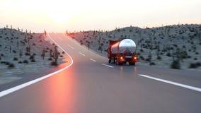 Gasoline tanker, Oil trailer, truck on highway. Very fast driving. 3d rendering. Stock Image