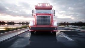 Gasoline tanker, Oil trailer, truck on highway. Very fast driving. 3d rendering. Gasoline tanker, Oil trailer, truck on highway. Very fast driving. 3d rendering Stock Image