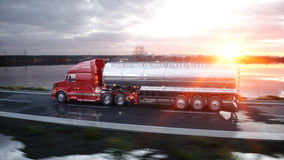 Gasoline tanker, Oil trailer, truck on highway. Very fast driving. 3d rendering. Gasoline tanker, Oil trailer, truck on highway. Very fast driving. 3d rendering Royalty Free Stock Photography