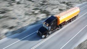 Gasoline tanker, Oil trailer, truck on highway. Very fast driving. 3d rendering. Gasoline tanker, Oil trailer, truck on highway. Very fast driving. 3d rendering Stock Photo
