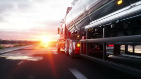 Gasoline tanker, Oil trailer, truck on highway. Very fast driving. Realistic 4K animation. stock video footage
