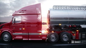 Gasoline tanker, Oil trailer, truck on highway. Very fast driving. Realistic 4K animation. stock footage