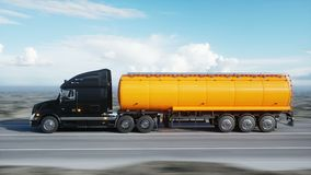 Gasoline tanker, Oil trailer, truck on highway. Very fast driving. Realistic 4k animation. Oil concept. Gasoline tanker, Oil trailer, truck on highway. Very stock video footage