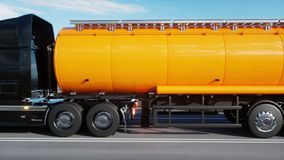 Gasoline tanker, Oil trailer, truck on highway. Very fast driving. Realistic 4k animation. Oil concept. Gasoline tanker, Oil trailer, truck on highway. Very stock footage