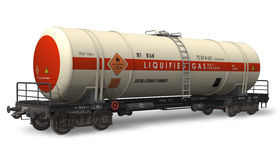 Gasoline tanker railroad car. Isolated on white background Royalty Free Stock Photos