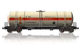 Gasoline tanker railroad car. Isolated on white reflective background Stock Photo