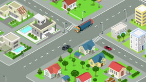 Gasoline tanker rides through the street of the city looped animated. Oil petroleum transportation video concept. Flat 3d isometric design animation stock footage