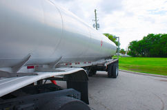 Gasoline tanker truck tank closeup. Closeup of a gas tanker truck gasoline tank showing the fire hazard symbol on the side of the tank Royalty Free Stock Images