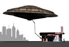 Gasoline thieves. Ufo stocking up gasoline at a gas station, under the astonished look of the employee stock illustration