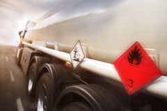 Gasoline transporter speeding on highway Royalty Free Stock Photography