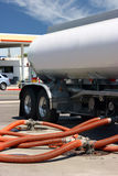 Gasoline truck. At the gas station Stock Images