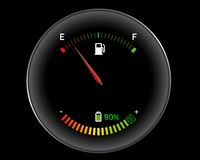 Gasoline versus electricity. Tachometer of a hybrid car Royalty Free Stock Images