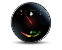 Gasoline versus electricity. Tachometer of a hybrid car Royalty Free Stock Photos