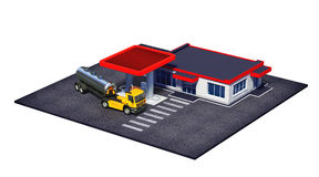 Gasolinera con del combustible el camión semi y el mini-centro comercial o la tienda del coffe Imagen de archivo libre de regalías