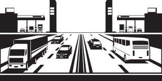 Gasolineras a ambos lados de la carretera ilustración del vector