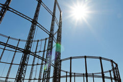 Gasometer. Gas storage tank in London Stock Photography